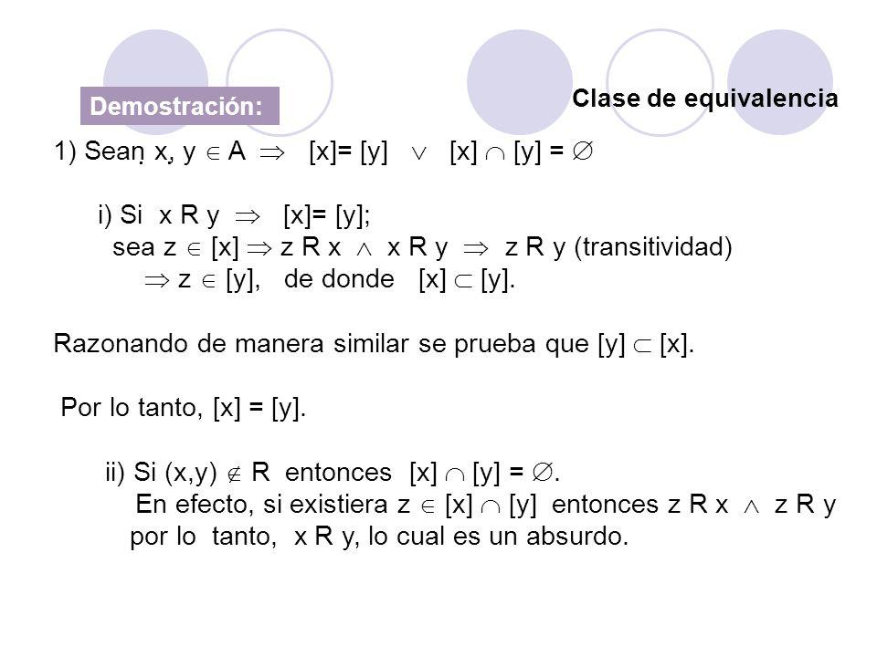 1) Sean x, y  A  [x]= [y]  [x]  [y] =  i) Si x R y  [x]= [y];
